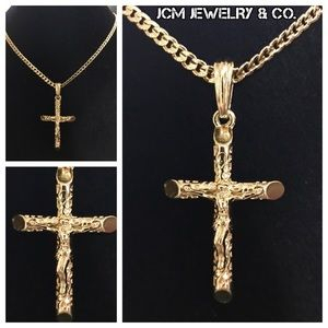 14K Gold Plated Cuban Link w/ Micro Cross Crucifix